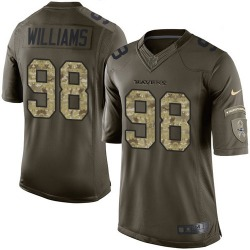Limited Brandon Williams Men's Baltimore Ravens Green Salute to Service Jersey - Nike